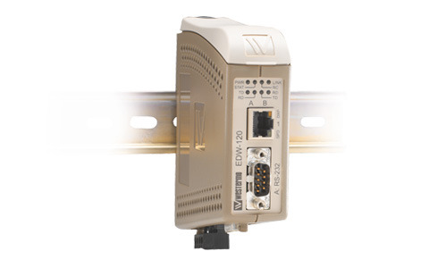 Westermo EDW-120 Serial to Ethernet converter designed to allow RS-232 serial devices to communicate via TCP/IP Ethernet networks.
